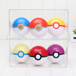 Wholesale 7cm Pikachu Poke Pokeball Plastic ABS Figure Toy Poke Ball Anime Children Gifts Christmas Gifts set colors