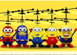 Wholesale Flying Minion Helicopter Toy Cartoon Christmas Aircraft Kids Despicable Me ball Flying Spider Man Helicopter Toy design LJJK585