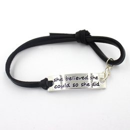Wholesale cm inspiration quote she believed she could so she did black leather bracelet bangles