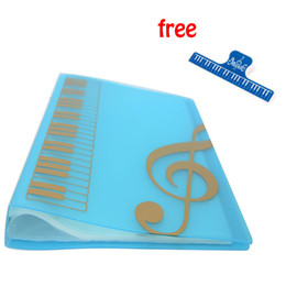 Best Selling Blue Pockets Music Sheet File Folder Music Holder Plastic A4 Size 40 Pockets - Blue