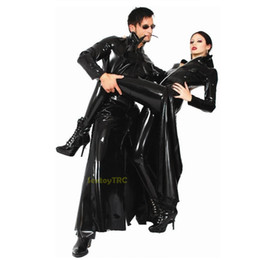 New Design Sexy Leather Coat Long Cool PVC Look Black Costume for Male Female Men Women Unisex Fancy Dress Zipper B0402022
