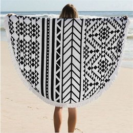Multi Types 150CM Round Beach Towel Bohemian Style Chiffon Polyester Fabric 150cm Beach Towels Round Printed Serviette Covers for Summer