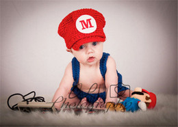 Wholesale Boys Girls Clothes Infant Clothing Photography Props Baby Crochet Hats Super Mario Suspenders Children Set Kids Suit Outfits D046