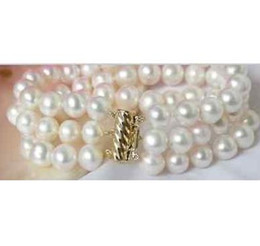 Charming natural 9-10mm south sea white pearl bracelet 7.5-8inch 14k gold clasp