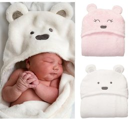 Wholesale Hot sale coral fleece blanket new top quality bear style hooded blankets newborn infants swaddle wrap baby parisarc