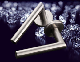 Wholesale Big promotion solid stainless steel L shape lever door handle interior room pull washroom pull kg per pair