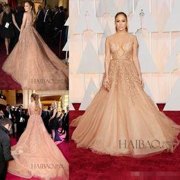 Real Stunning 2016 V Neck Jennifer Lopez Celebrity Elie Saab Evening Dresses with exquisite lace and beading Red Carpet Oscar dress