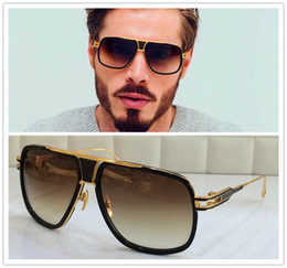 Wholesale DITA sunglasses dita grandmaster five men brand designer sunglasses retro vintage shiny K gold coating mirror lens big frame original case