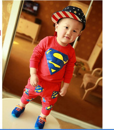 Hot Retail 2016 new hero Superman unisex baby boy baby girl sets children Spring fashion brand long-sleeved jacket sports suit