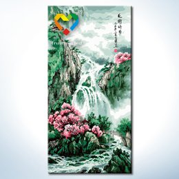 Wholesale Mountain Stream DIY Painting Baby Toys x80cm Artistical Canvas Oil Painting Kids Drawing Toys Set for Family Gift with Green Acrylic