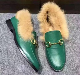 Wholesale 2016 winter womens black red green Genuine cow Leather luxury gold buckle Loafers Natural Rabbit fur lining warm slippers driver shoes