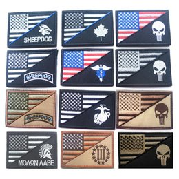 Wholesale 50 United States Flag Punisher Patch Morale Tactical Patches Hook Loop Embroidery Military Army D Armband Badge free ship