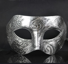 Wholesale Imitating ancient Rome mask for men imperial crown and deep V style antique brass and silvery cosplay prince at the dance WA2501