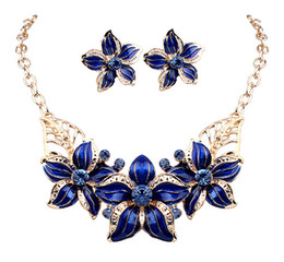 Wholesale Hot Seling K Gold Plated Austrian Crystal Enamel Flower Jewelry Sets Fashion African Necklace and Earring Set for Women DHW254