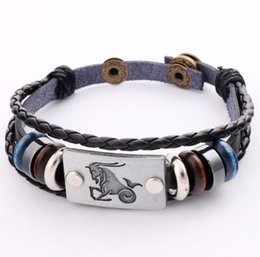 Wholesale 2016 Hot Genuine Real Leather Bracelets with Constellation Zodiac Sign Logo Charms Beads Button Adjustable Size Unisex BR18