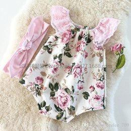 Wholesale 2016 New Summer Infant Baby Rompers Cute Girl Lace Sleeveless Jumpsuits Toddler Floral Printing Onesies One Piece Kids Cotton Romper