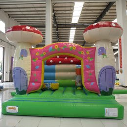 newest style 0.55mm pvc tarpaulin folded inflatable bouncer toy house used mushroon trampoline for child