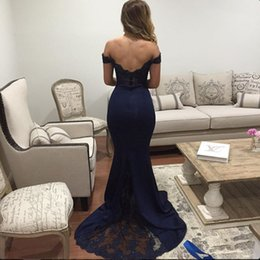 New Charming Mermaid Evening Dresses Off Shoulder Short Sleeve Lace Mermaid Party Gowns robe de soiree Custom Made E050 Low Back