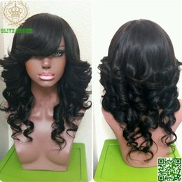 Glueless Full Lace Wig With Bang Malaysian Human Hair Lace Front Wig with Bangs Aunty Funmi Bouncy Curly Wigs