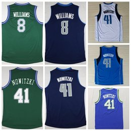 Wholesale Men Retro Deron Williams Jersey Navy Blue White Green Color Throwback Dirk Nowitzki Shirts Uniforms Rev New Material Good Quality