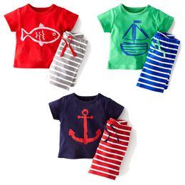 baby boys summer sets 2015 boys anchor set short sleeve cartoon cotton children set fashion T shirt Stripe Pants 2 pieces suits boys