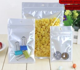 Best Quality Clear+ white pearl Plastic Poly OPP packing zipper Zip lock Retail Packages Jewelry food PVC plastic bag 1000