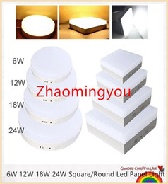 2017 down light led 6w VOUS 6W 12W 18W 24W Square / Round Led Light Panel Surface Mounted leds Downlight plafond bas 110-240V lampada lampe + pilote LED budget down light led 6w
