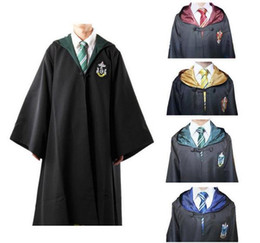 Wholesale Hot Harry Potter Cosplay Cloak Cape Gryffindor Slytherin Hufflepuff Ravenclaw Robe Tie Size S M L XL XXL