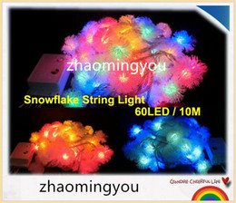 YON 10M 60 LED Furry Ball RGB Edelweiss Snowflake led String Light,220V colorful Christmas outdoor led string light
