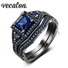 Vecalon Romantic Lovers Wedding Band Ring Set Blue sapphire Cz Diamond 10KT Black k Cz diamond 10KT Black Gold Filled Female Engagement ring