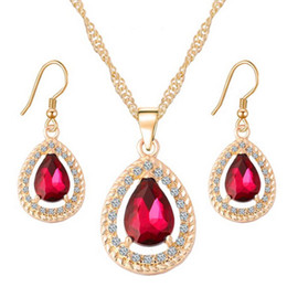 Wholesale Ruby Love Heart Zircon Necklace And Earrings Sets for Women Brides Wedding CZ Diamond Crysta Silver Jewelry Set Kits For Girls Gift s42