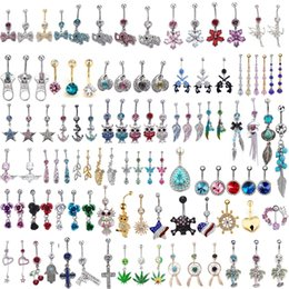 Wholesale 100Pcs Mixed style Ombligo Belly Button Ring Rhinestone Pendant L Surgical Steel G Navel Tragus Body Jewelry