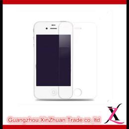 Acheter en ligne Écrans pourpres-Protecteur d'écran en verre trempé Or Violet Bleu Noir Argent Transparence 9H Dureté 0.33MM Avant verre trempé pour Iphone 4S