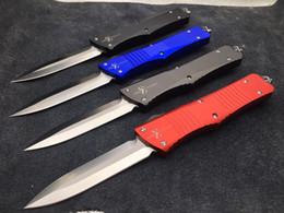 2016 Nueva gama alta de Microtech Troodon cuchillo táctico 60HRC D2 de la lámina del satén 6061-T6 de la manija de aluminio de bolsillo EDC cuchillos del regalo del cuchillo con bolsa de nylon desde bolsas de bolsillos fabricantes