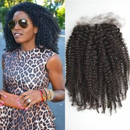 Wholesale Afro Kinky Curl Top Closure Indian Donor Remy Hair Unprocessed Hair Black Color Inch Free Style Mid Three Part Swiss Lace Baby Hair