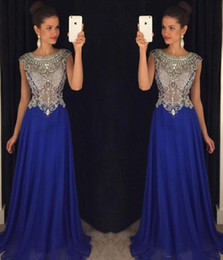New Sequins Beaded Sheer Bodice Sexy Royal Blue Prom Dresses Long Chiffon Girls Party Gowns Dresses Evening Wear