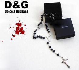 Croix d'argent en Ligne-10pcs 925 collier en argent jésus pendentif croix chapelet noir tout neuf