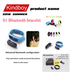 Wholesale 2016 fitbit S1 Bluetooth bracelet Fashion Bluetooth Smart Bracelet S1 Smartband High Definition Pedometer Support bluetooth headset earphone