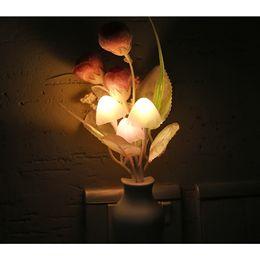 Wholesale Loverly Color Change Light Sensor light control LED Night Light Mushroom Tulip Flower Potted Nightlight For Baby Kids