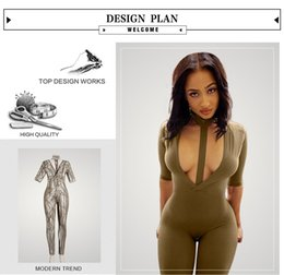 Wholesale 2016 Women New Fashion Eur and Ame Clubwear Sexy Rompers Deep v neck Bodycon Bodysuit Bodywear Summer Playsuits Vesitdos print Jumpsuits