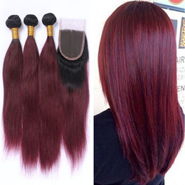 Ombre Two Tone Straight Wine Red Hair Bundles With Lace Closure Free Middle Part Ombre #1B 99J Burgundy Hair Weaves With Top Closure