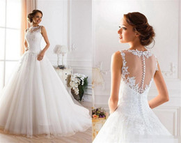 2019 Elegant Crew Neck A Line Wedding Dresses Appliques Back Cover Button Sweep Train Cheap Bridal Gown Chic Rustic Wedding