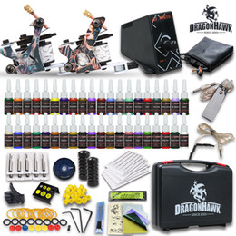 Wholesale Complete Tattoo Kits Guns Machines Colors Inks Sets Pieces Disposable Needles LCD ELFIN Power Supply HW GD USA Dispatch Beginner