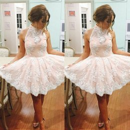 Wholesale 2016 Lovely Lace Appliques Homecoming Dresses Baby Pink Mini Lace Ruffle Skirts Short Cocktail Dresses Prom Gowns