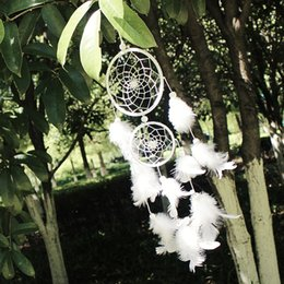 Wholesale Hot White Feather Dream Catcher Ornaments Creative Home Decors Craft For House Window Double Circle Dreamcathers Oranments Gift