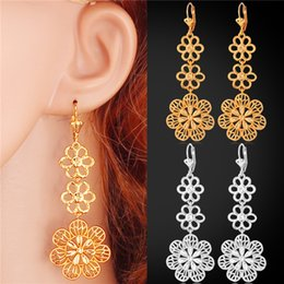 Gold Long Drop Earrings for Women 18K Real Gold Plated Platinum Plated Hollow Flower Vintage Earrings