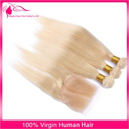 Blonde 613 Lace Closure With Bundles 4 pcs lot Peruvian Straight Virgin Human Hair 613 Pure Color hair With Lace Closure
