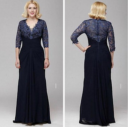 Sexy V-neck A-line Lace and Chiffon Mother of the Bride Dress 3 4 Sleeve Floor Length Evening Party Dress