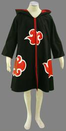 Capas superiores del traje en venta-Top Carátula de venta Naruto Akatsuki Uchiha Sasuke Cosplay Traje Robe Uniforme Capa Negro Impresión Capa Para Unisex