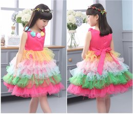 Children Flower Dresses The Big Girls Tutu Dress Baby Girls Party Flower Printed Dresses For 2016 New Summer Kids Clothes